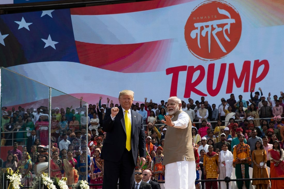 Namaste Trump: The President of the US Donald Trump and Prime Minister of India, Narendra Modi at the rally in Ahmadabad.